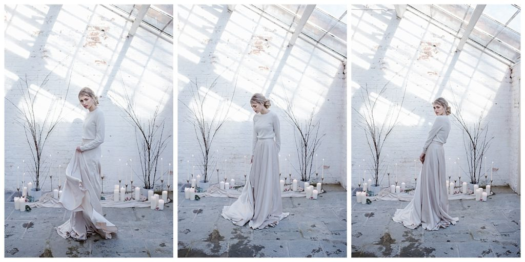 three images of woman in two piece - alternative wedding photographer manchester