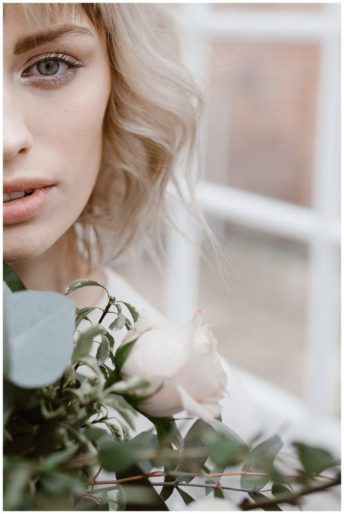 close up of woman and bouquet - alternative wedding photographer manchester garthmyl hall