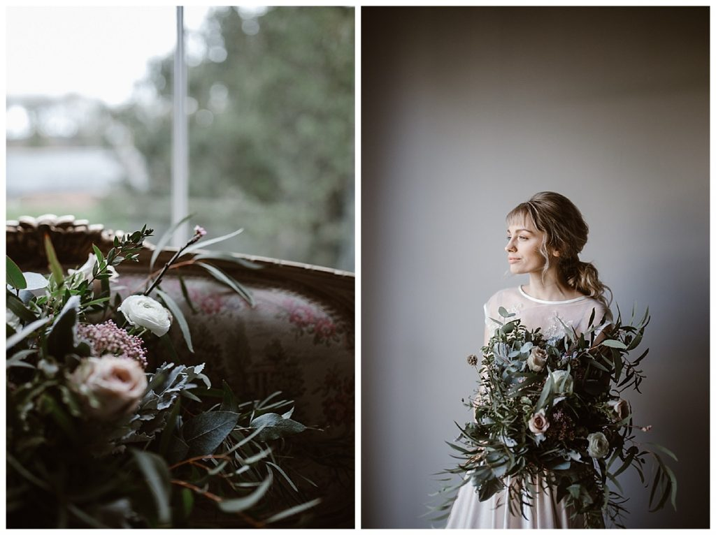 woman and bouquet stood in window light - alternative wedding photographer manchester garthmyl hall