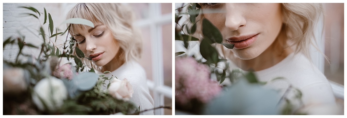 free lensing of woman lips bouquet - alternative wedding photographer manchester garthmyl hall